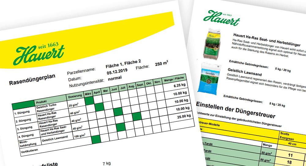 Hauert-Rasentool: Der individuelle Düngeplan