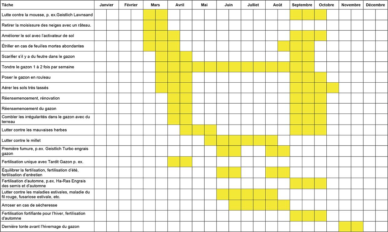 Plan d'entretien annuel du gazon
